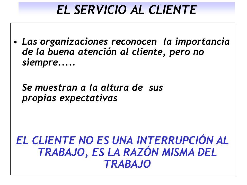 EL SERVICIO AL CLIENTE Las organizaciones reconocen la importancia de la buena atención al cliente, pero no siempre.....