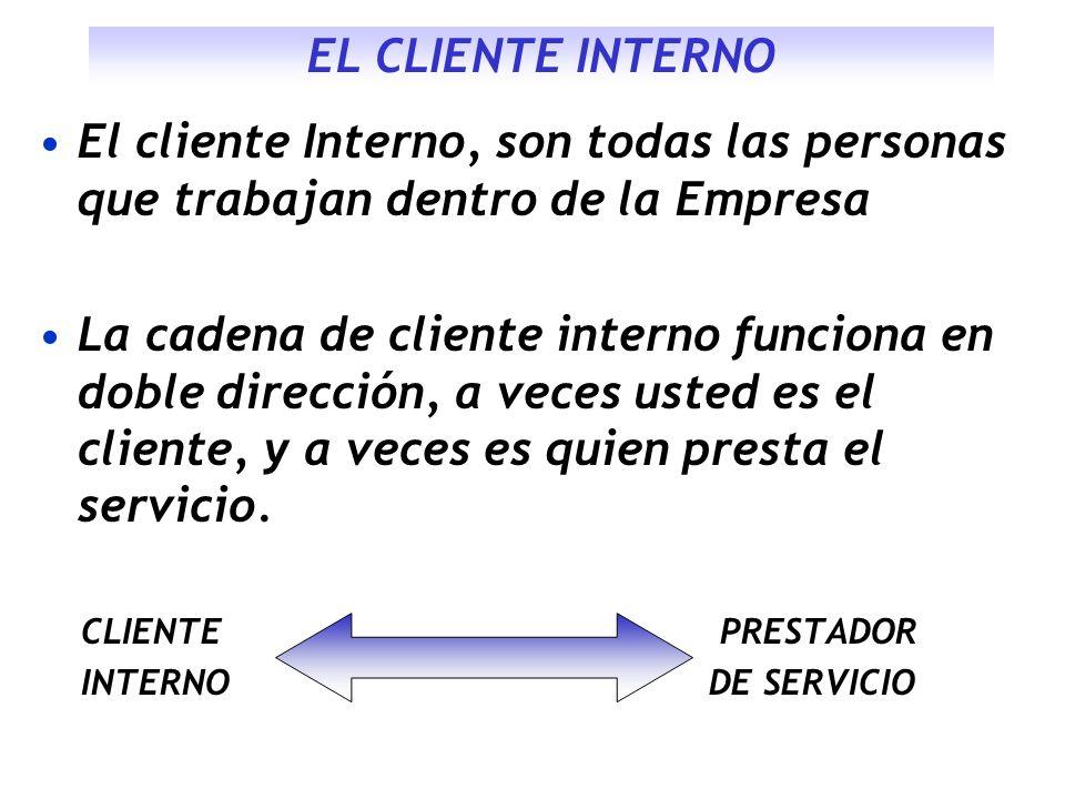 EL CLIENTE INTERNO El cliente Interno, son todas las personas que trabajan dentro de la Empresa.