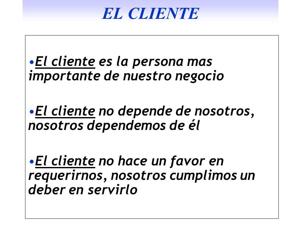 EL CLIENTE El cliente es la persona mas importante de nuestro negocio