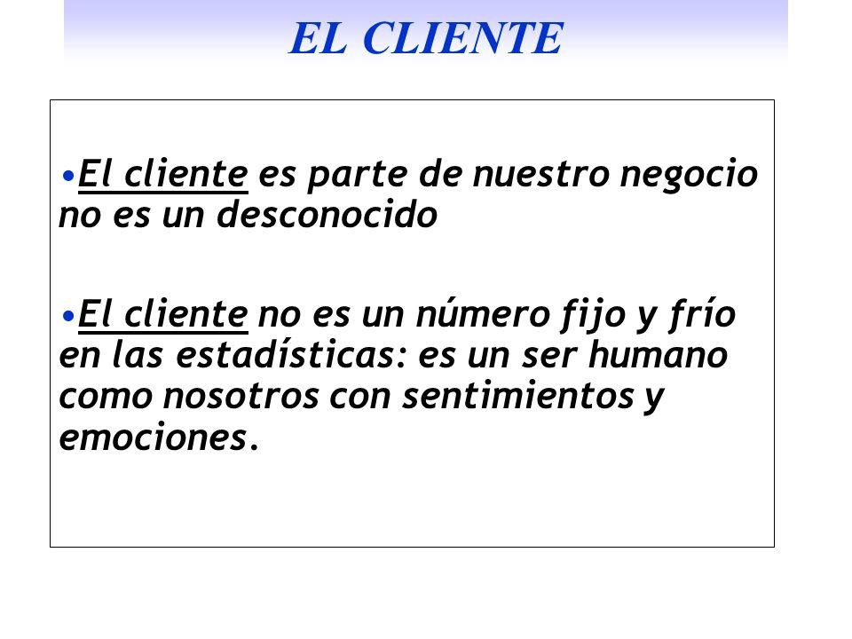 EL CLIENTE El cliente es parte de nuestro negocio no es un desconocido
