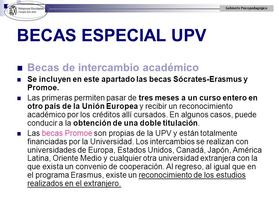 BECAS ESPECIAL UPV Becas de intercambio académico