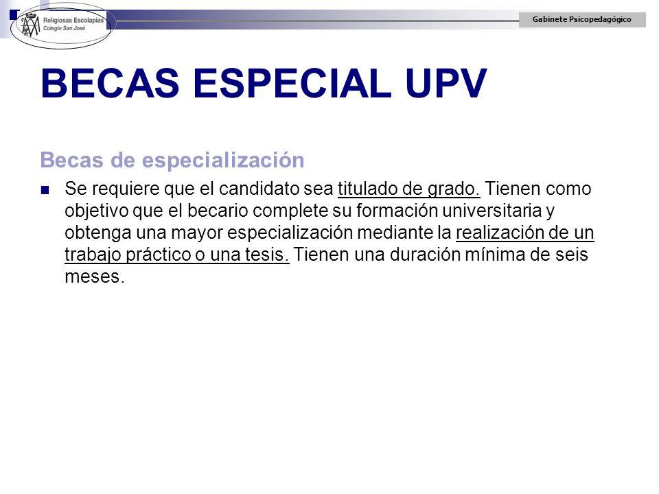 BECAS ESPECIAL UPV Becas de especialización
