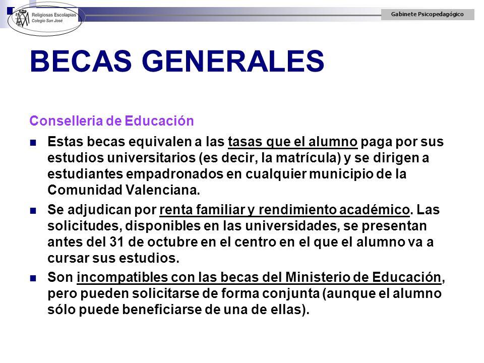 BECAS GENERALES Conselleria de Educación