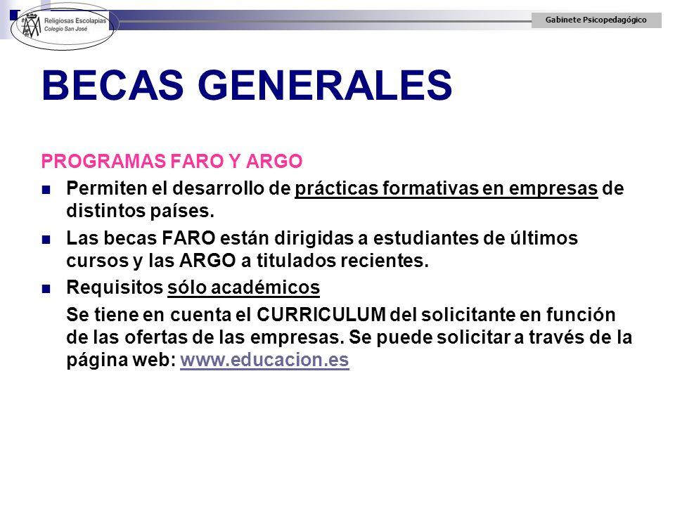 BECAS GENERALES PROGRAMAS FARO Y ARGO