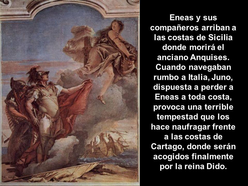 Eneas y sus compañeros arriban a las costas de Sicilia donde morirá el anciano Anquises.