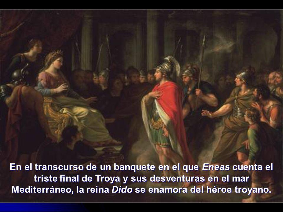 En el transcurso de un banquete en el que Eneas cuenta el triste final de Troya y sus desventuras en el mar Mediterráneo, la reina Dido se enamora del héroe troyano.