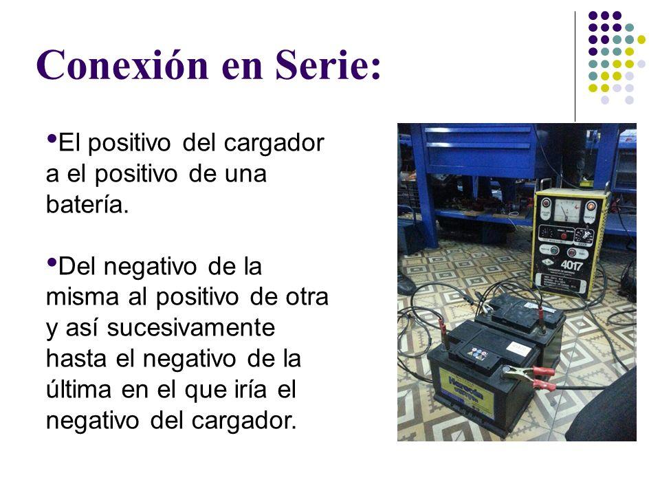 Conexión en Serie: El positivo del cargador a el positivo de una batería.