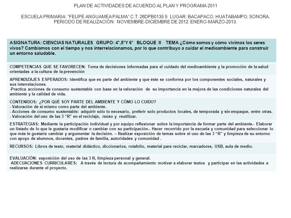 PLAN DE ACTIVIDADES DE ACUERDO AL PLAN Y PROGRAMA 2011 ESCUELA PRIMARIA: FELIPE ANGUAMEA PALMA C.T. 26DPB0135 S LUGAR: BACAPACO, HUATABAMPO, SONORA. PERIODO DE REALIZACIÓN: NOVIEMBRE-DICIEMBRE DE 2012. ENERO-MARZO-2013.
