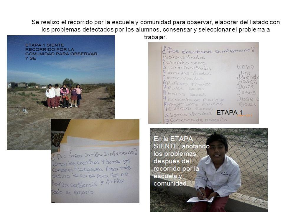 Se realizo el recorrido por la escuela y comunidad para observar, elaborar del listado con los problemas detectados por los alumnos, consensar y seleccionar el problema a trabajar.