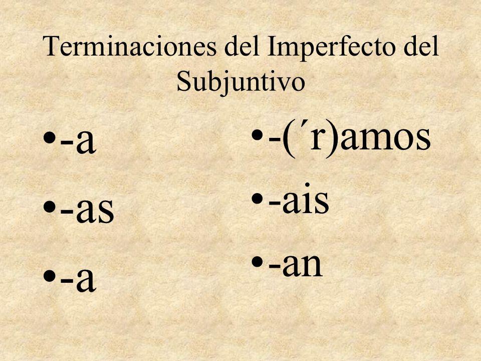 Terminaciones del Imperfecto del Subjuntivo