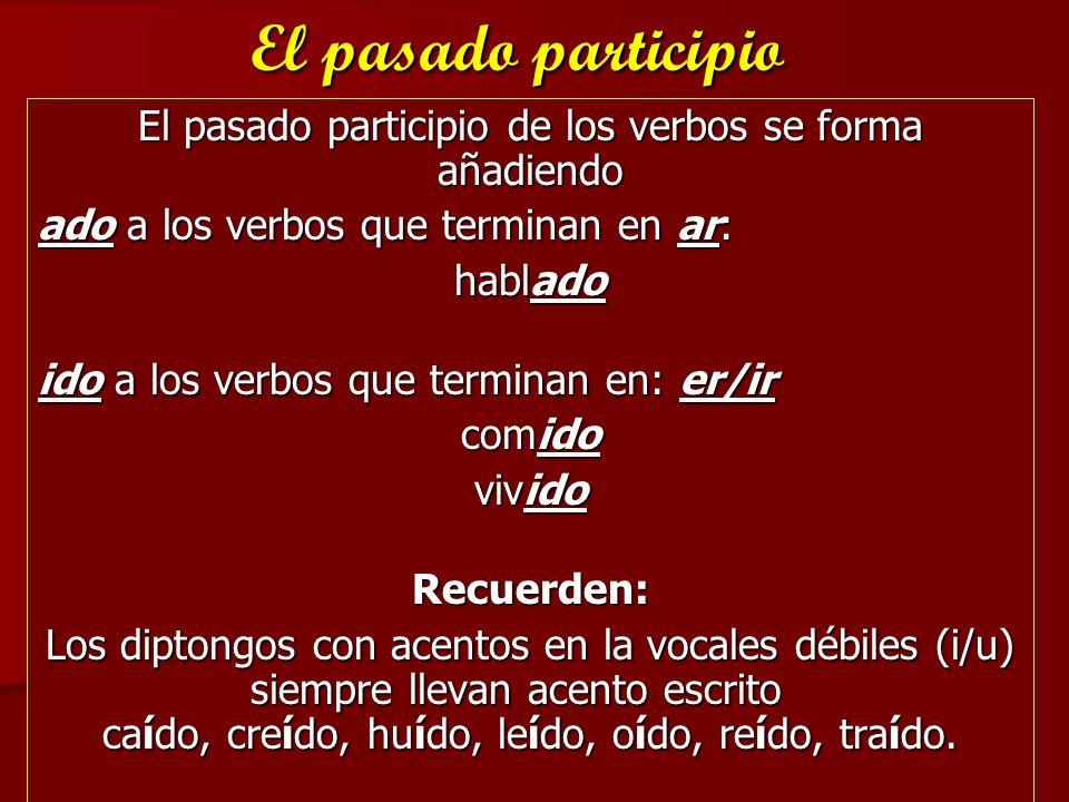 El pasado participio de los verbos se forma añadiendo