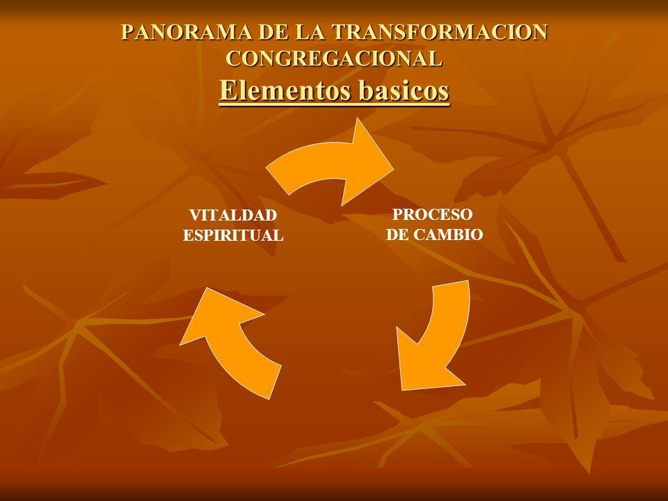 PANORAMA DE LA TRANSFORMACION CONGREGACIONAL Elementos basicos