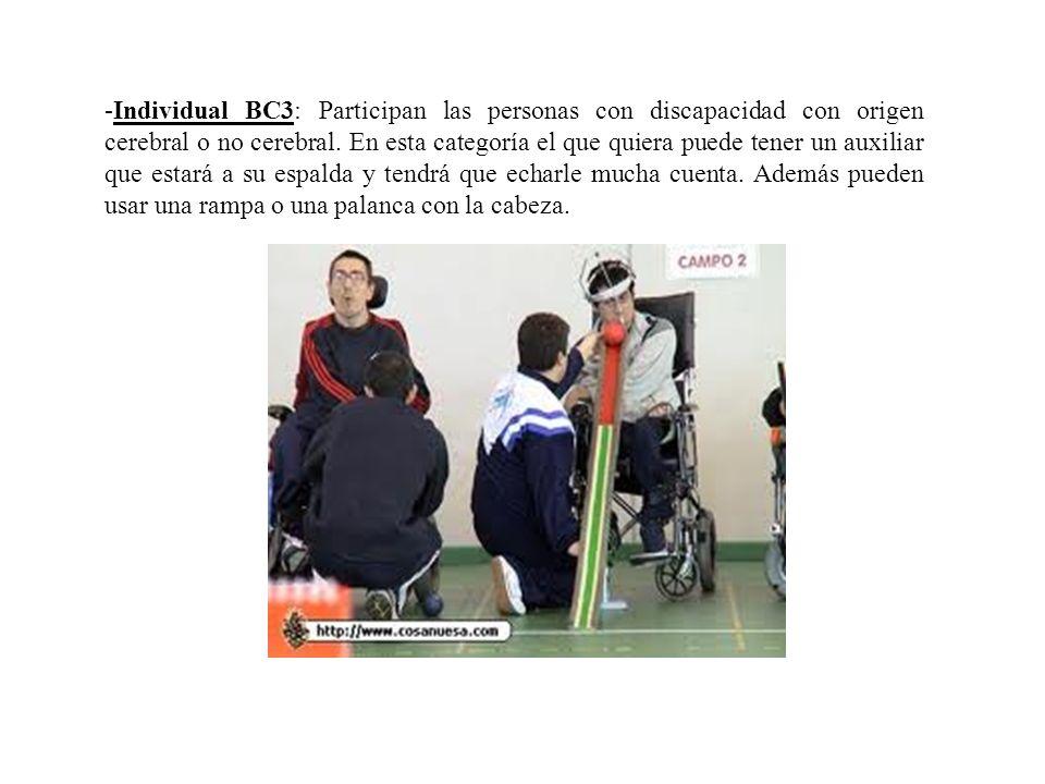 -Individual BC3: Participan las personas con discapacidad con origen cerebral o no cerebral.