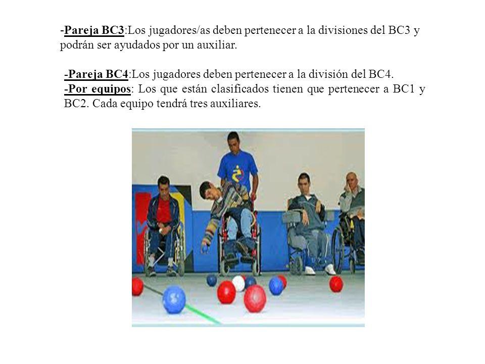 -Pareja BC3:Los jugadores/as deben pertenecer a la divisiones del BC3 y podrán ser ayudados por un auxiliar.