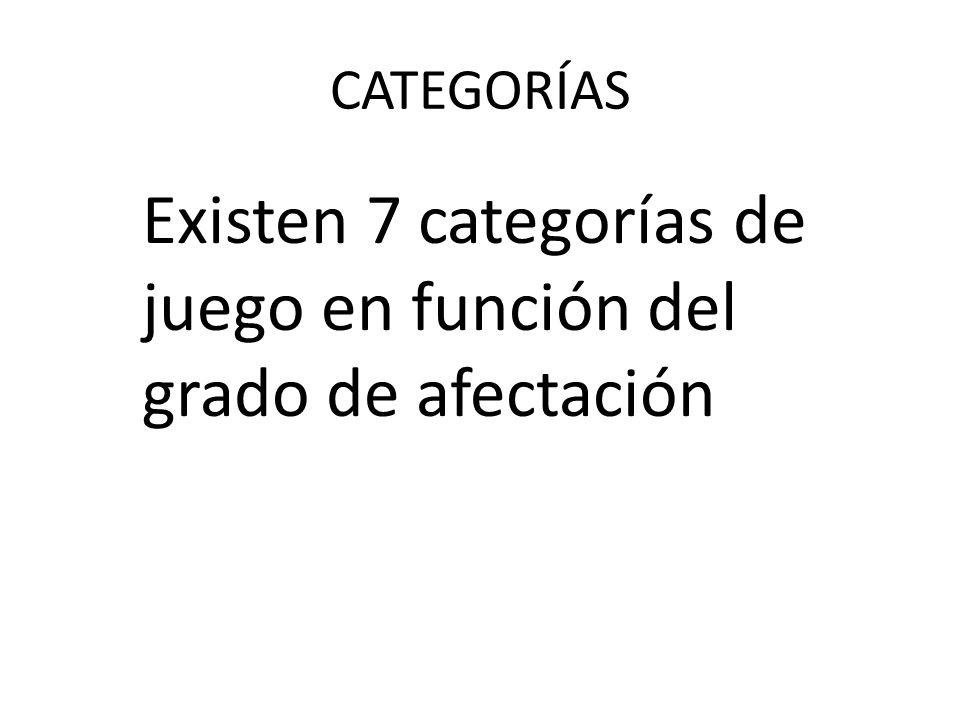 Existen 7 categorías de juego en función del grado de afectación