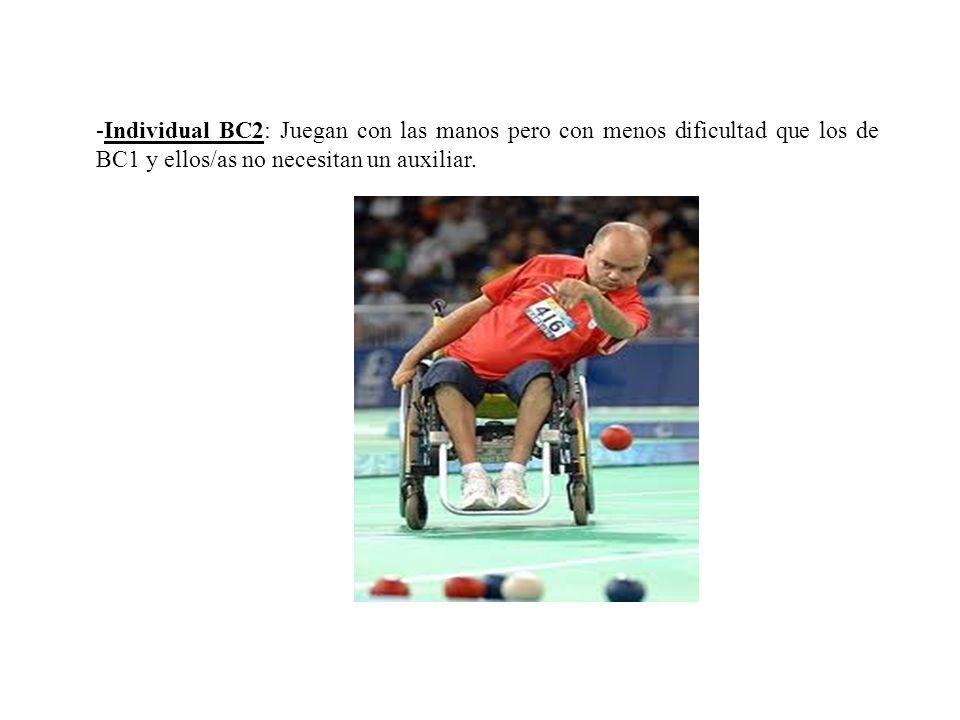 -Individual BC2: Juegan con las manos pero con menos dificultad que los de BC1 y ellos/as no necesitan un auxiliar.