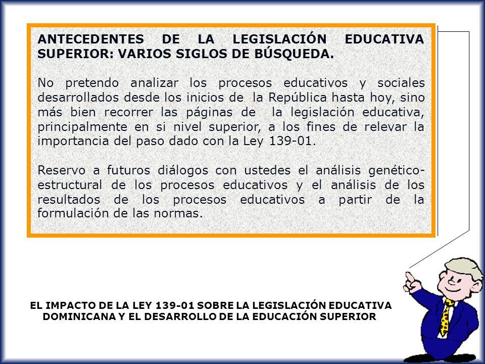 ANTECEDENTES DE LA LEGISLACIÓN EDUCATIVA SUPERIOR: VARIOS SIGLOS DE BÚSQUEDA.
