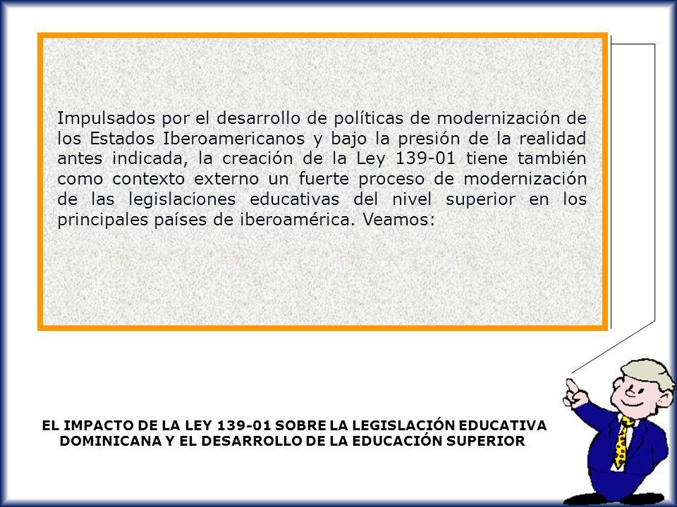 Impulsados por el desarrollo de políticas de modernización de los Estados Iberoamericanos y bajo la presión de la realidad antes indicada, la creación de la Ley 139-01 tiene también como contexto externo un fuerte proceso de modernización de las legislaciones educativas del nivel superior en los principales países de iberoamérica. Veamos: