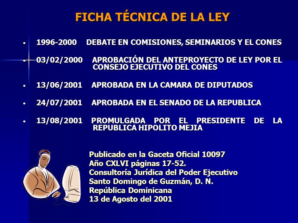FICHA TÉCNICA DE LA LEY 1996-2000 DEBATE EN COMISIONES, SEMINARIOS Y EL CONES.