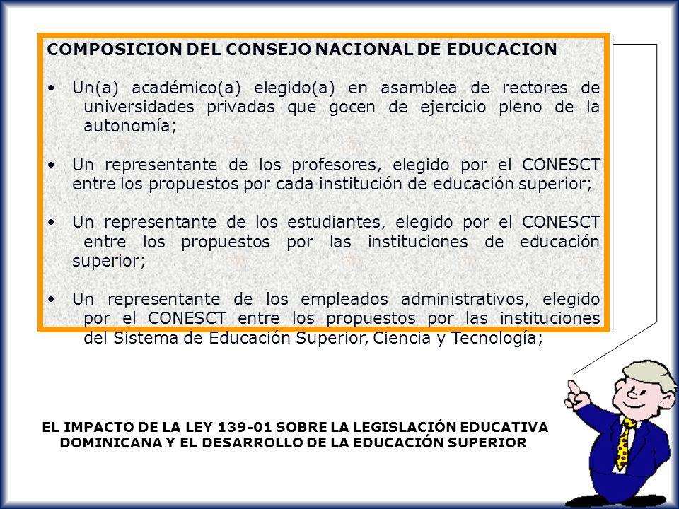 COMPOSICION DEL CONSEJO NACIONAL DE EDUCACION