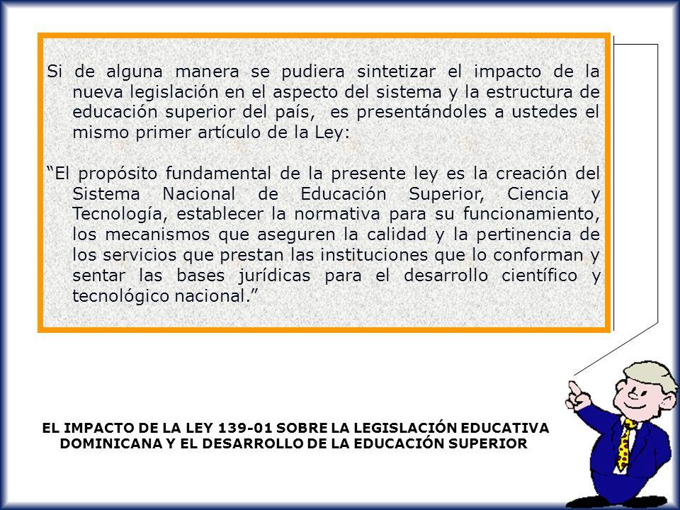 Si de alguna manera se pudiera sintetizar el impacto de la nueva legislación en el aspecto del sistema y la estructura de educación superior del país, es presentándoles a ustedes el mismo primer artículo de la Ley: