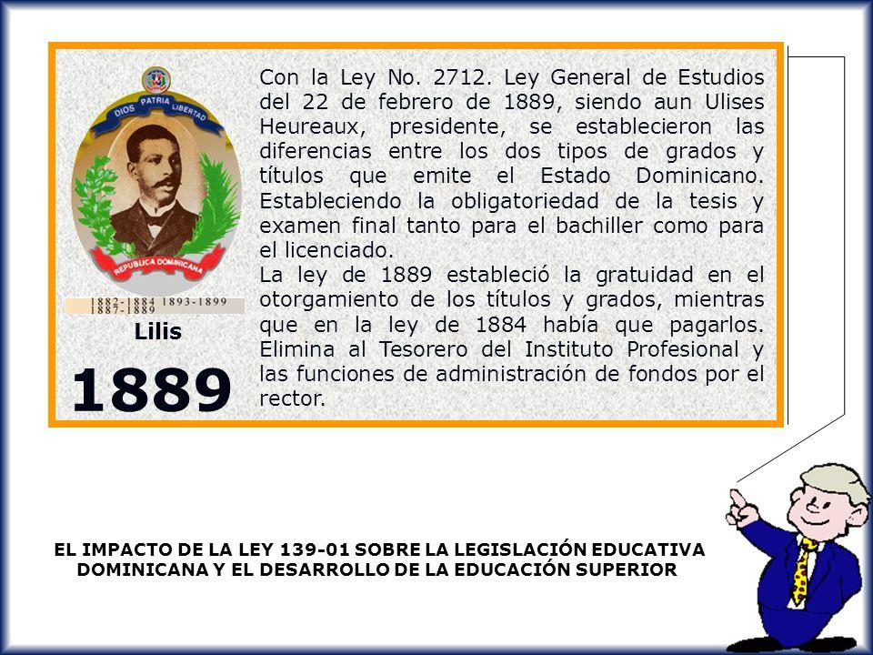 Con la Ley No. 2712. Ley General de Estudios del 22 de febrero de 1889, siendo aun Ulises Heureaux, presidente, se establecieron las diferencias entre los dos tipos de grados y títulos que emite el Estado Dominicano. Estableciendo la obligatoriedad de la tesis y examen final tanto para el bachiller como para el licenciado.