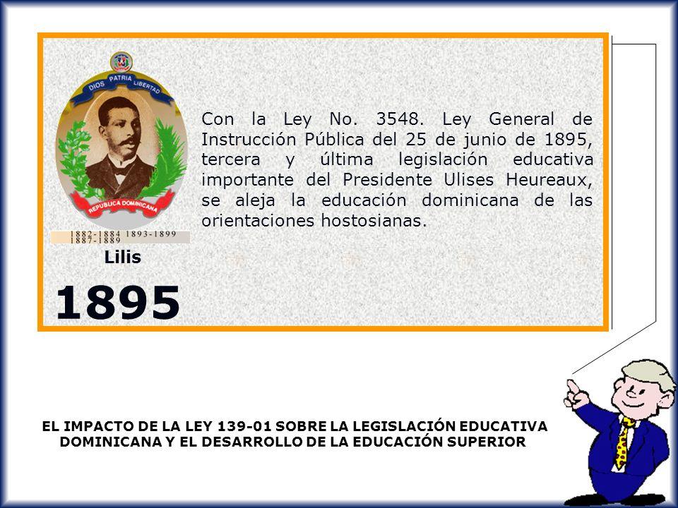 Con la Ley No. 3548. Ley General de Instrucción Pública del 25 de junio de 1895, tercera y última legislación educativa importante del Presidente Ulises Heureaux, se aleja la educación dominicana de las orientaciones hostosianas.