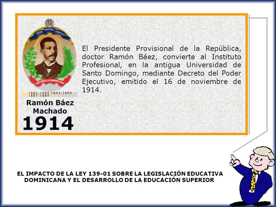 El Presidente Provisional de la República, doctor Ramón Báez, convierte al Instituto Profesional, en la antigua Universidad de Santo Domingo, mediante Decreto del Poder Ejecutivo, emitido el 16 de noviembre de 1914.