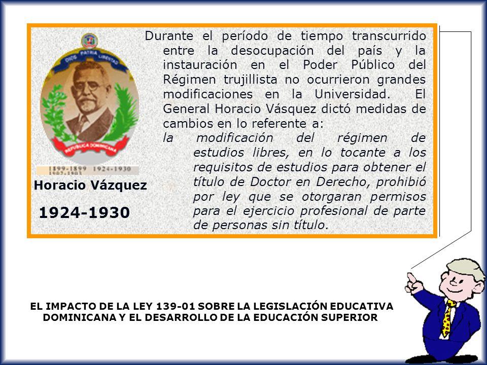 Durante el período de tiempo transcurrido entre la desocupación del país y la instauración en el Poder Público del Régimen trujillista no ocurrieron grandes modificaciones en la Universidad. El General Horacio Vásquez dictó medidas de cambios en lo referente a: