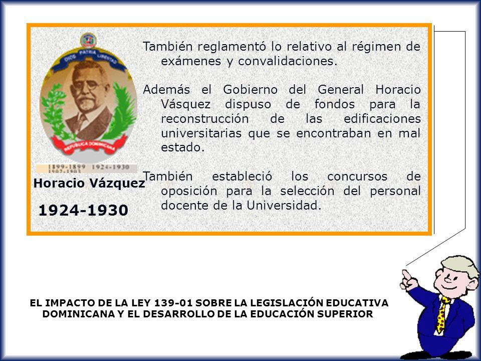También reglamentó lo relativo al régimen de exámenes y convalidaciones.
