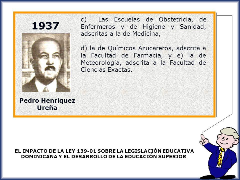 c) Las Escuelas de Obstetricia, de Enfermeros y de Higiene y Sanidad, adscritas a la de Medicina,