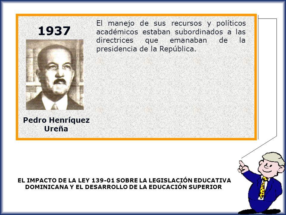 El manejo de sus recursos y políticos académicos estaban subordinados a las directrices que emanaban de la presidencia de la República.