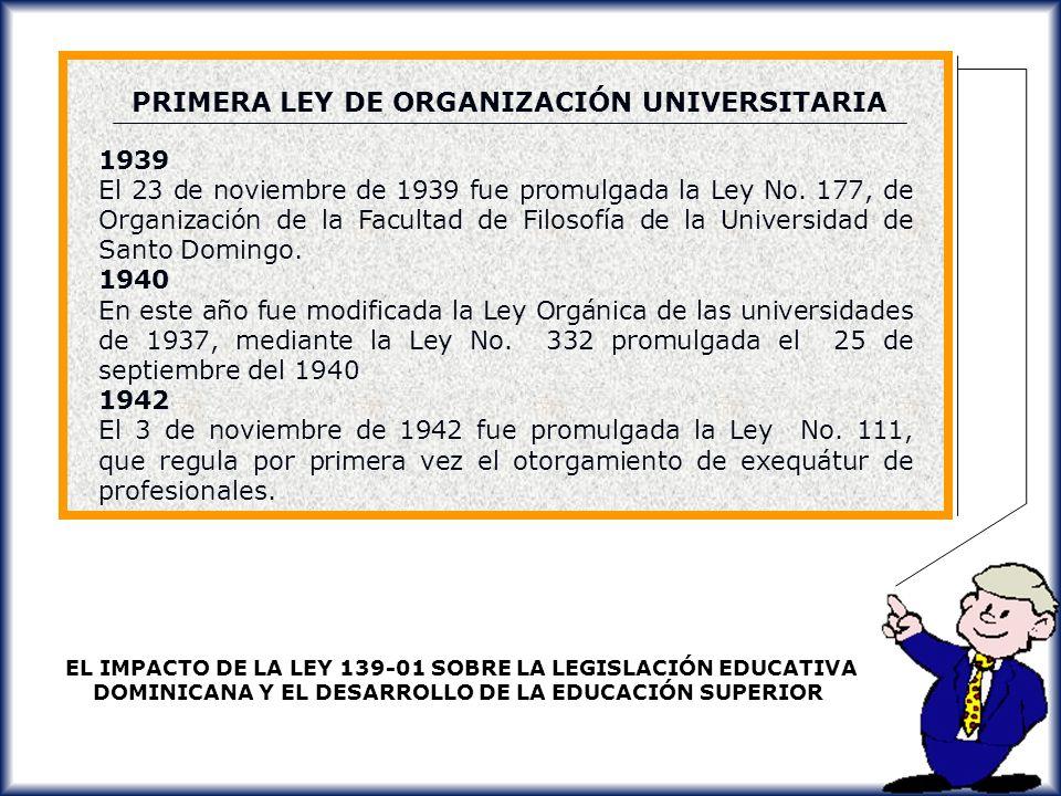 PRIMERA LEY DE ORGANIZACIÓN UNIVERSITARIA