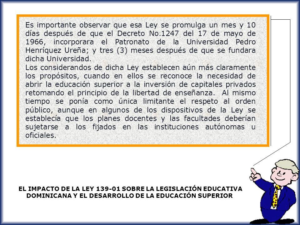 Es importante observar que esa Ley se promulga un mes y 10 días después de que el Decreto No.1247 del 17 de mayo de 1966, incorporara el Patronato de la Universidad Pedro Henríquez Ureña; y tres (3) meses después de que se fundara dicha Universidad.