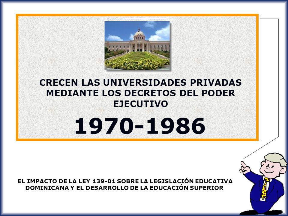 CRECEN LAS UNIVERSIDADES PRIVADAS MEDIANTE LOS DECRETOS DEL PODER EJECUTIVO