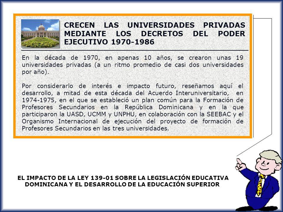 CRECEN LAS UNIVERSIDADES PRIVADAS MEDIANTE LOS DECRETOS DEL PODER EJECUTIVO 1970-1986