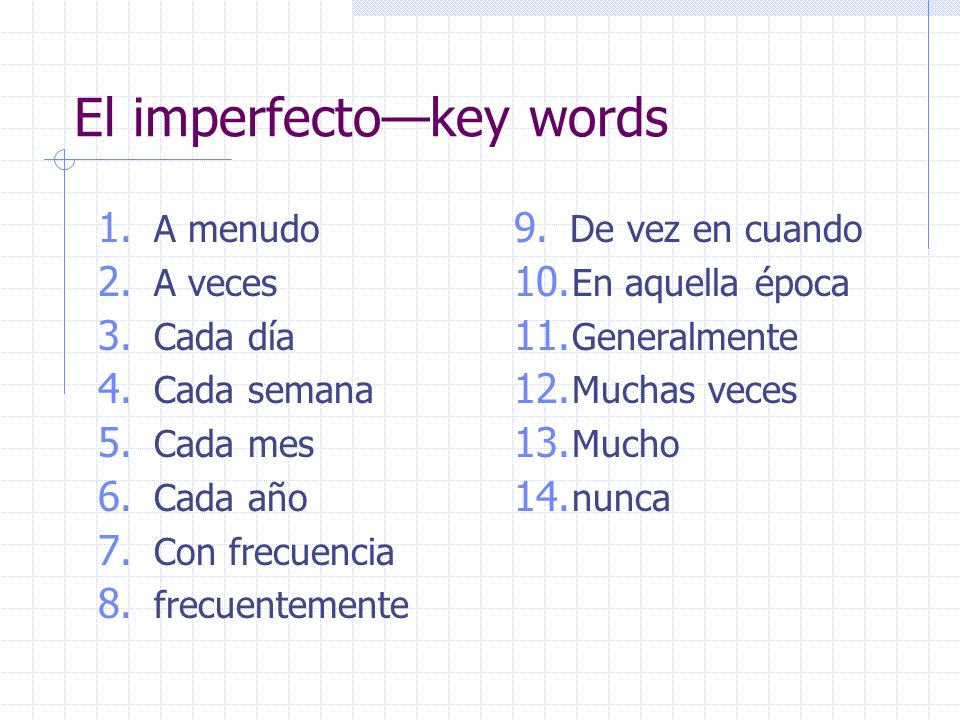 El imperfecto—key words