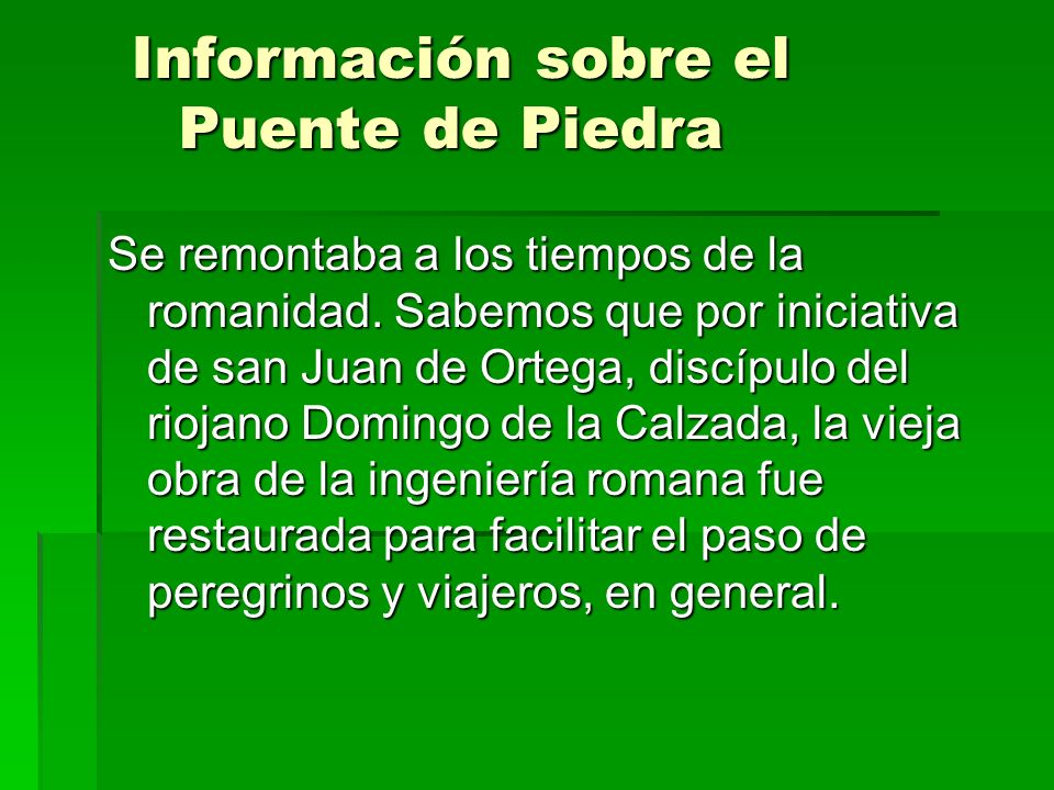 Información sobre el Puente de Piedra