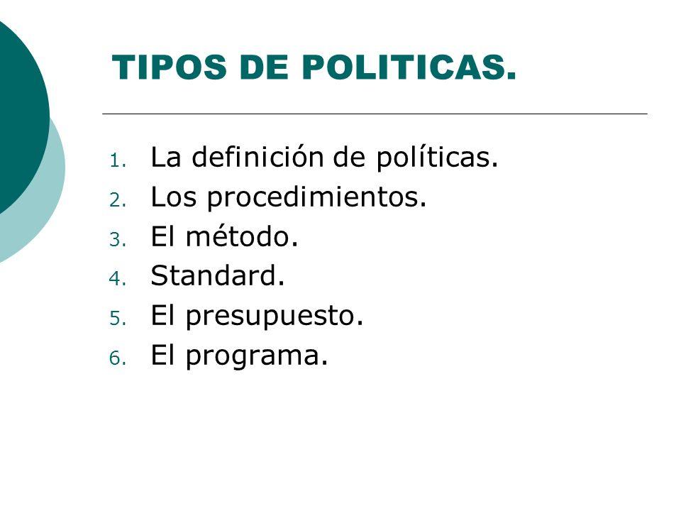 TIPOS DE POLITICAS. La definición de políticas. Los procedimientos.