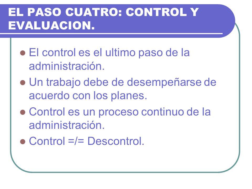 EL PASO CUATRO: CONTROL Y EVALUACION.