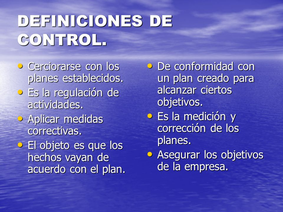 DEFINICIONES DE CONTROL.