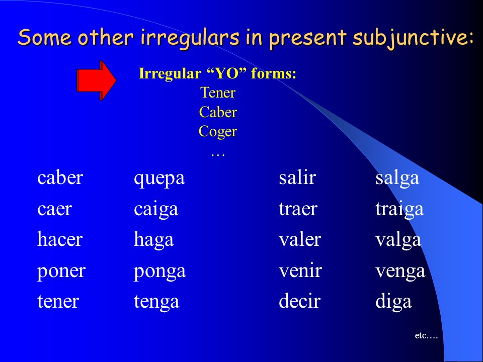 Some other irregulars in present subjunctive: