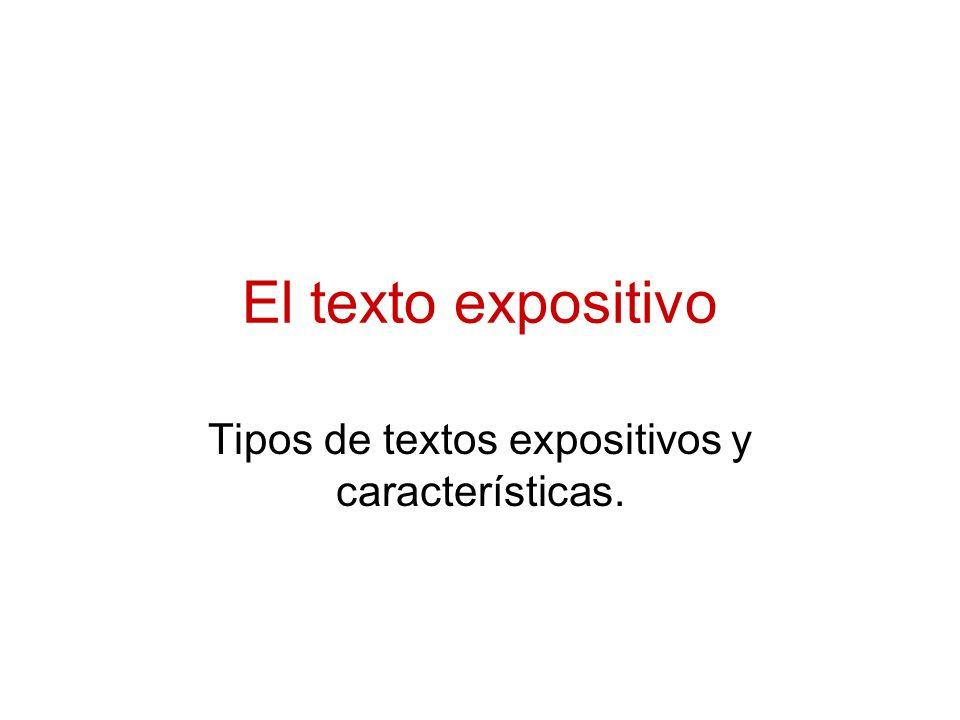 Tipos de textos expositivos y características.