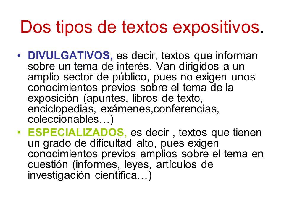 Dos tipos de textos expositivos.