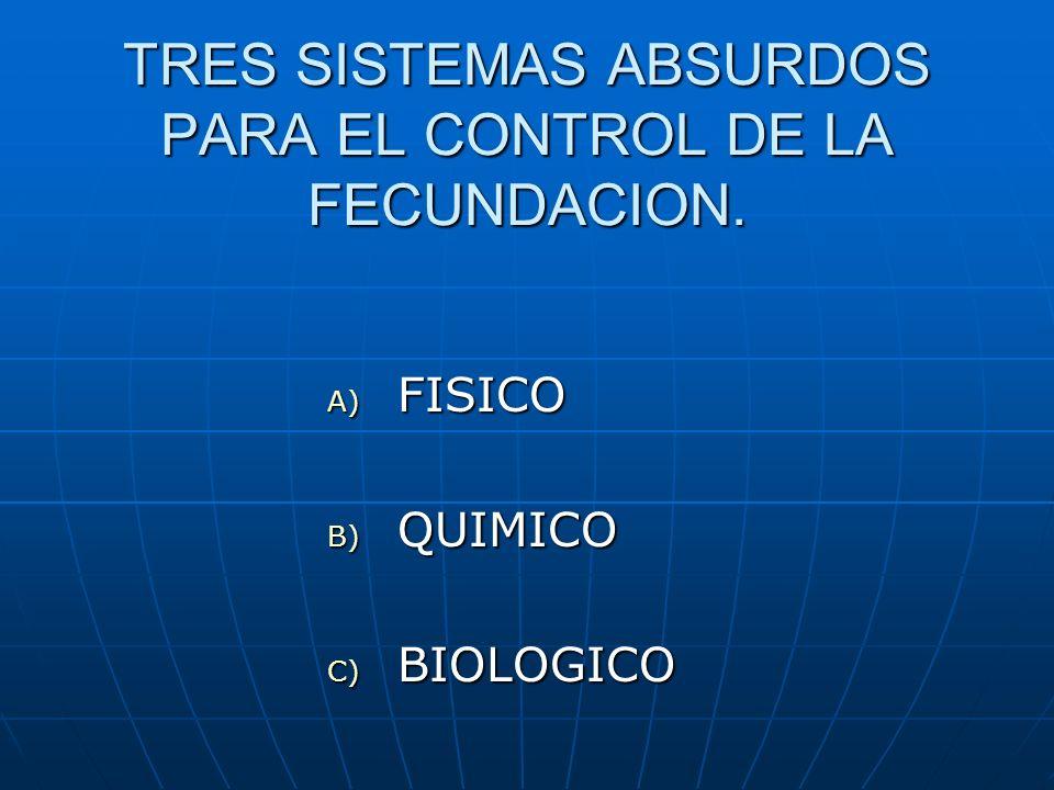 TRES SISTEMAS ABSURDOS PARA EL CONTROL DE LA FECUNDACION.