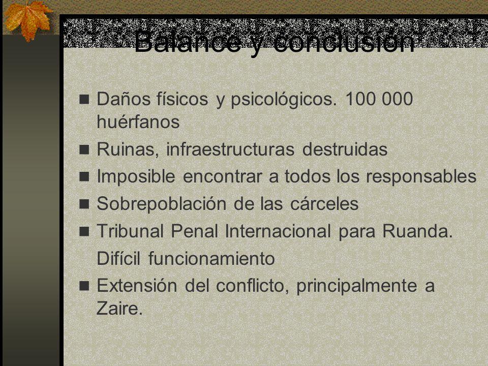 Balance y conclusión Daños físicos y psicológicos. 100 000 huérfanos