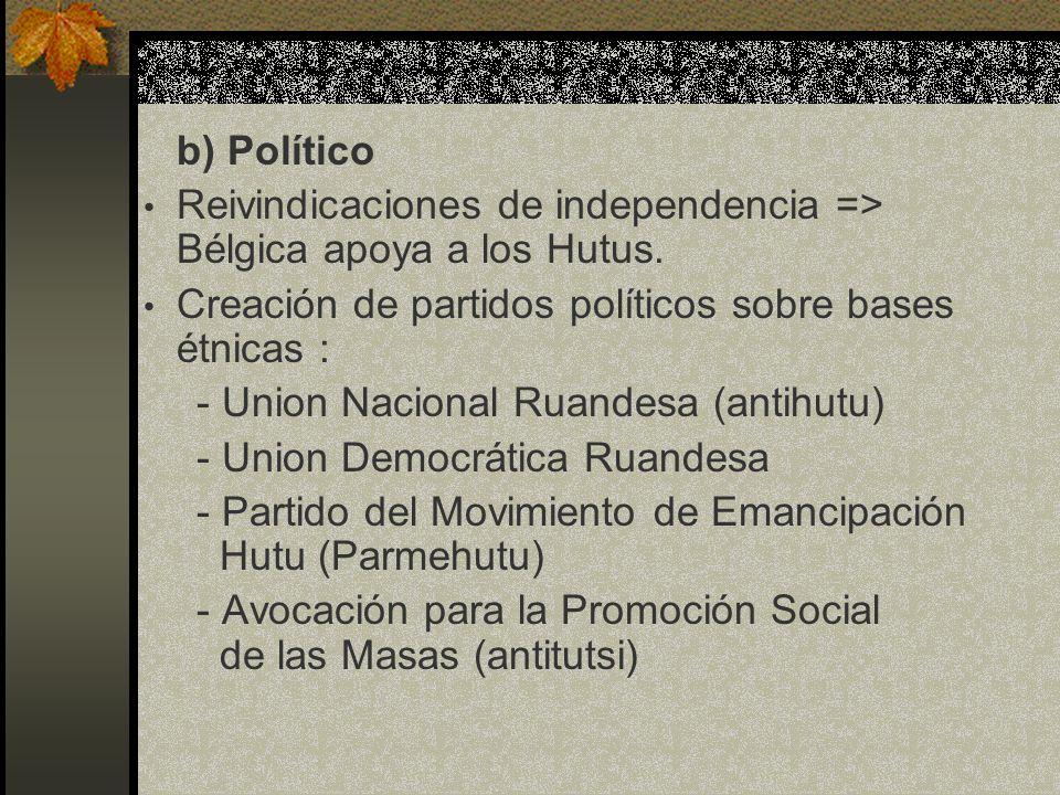 b) Político Reivindicaciones de independencia => Bélgica apoya a los Hutus. Creación de partidos políticos sobre bases étnicas :