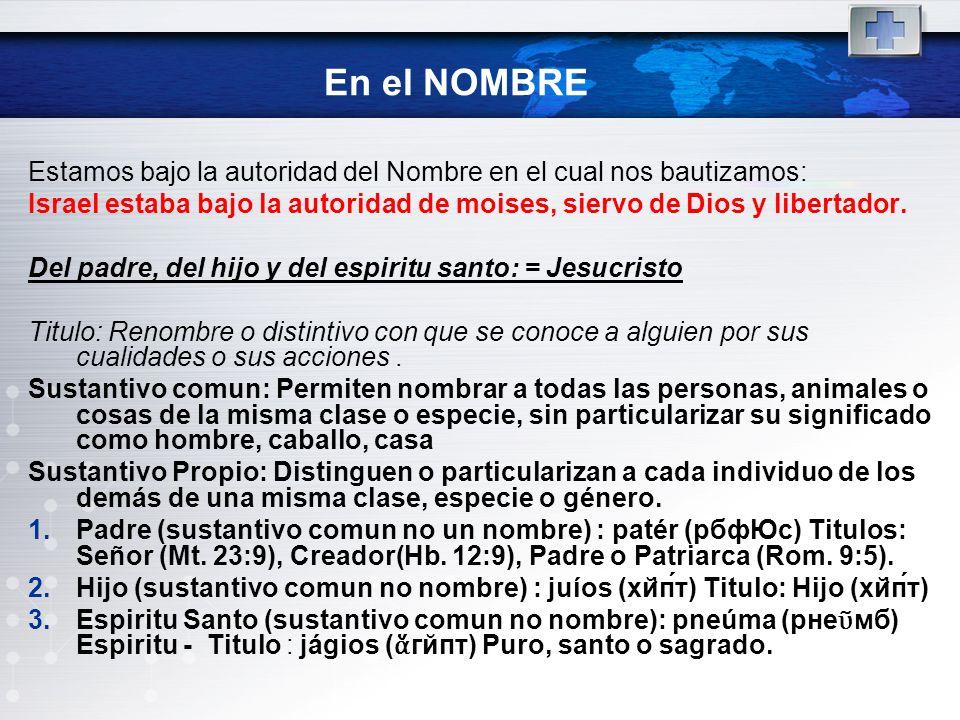 En el NOMBREEstamos bajo la autoridad del Nombre en el cual nos bautizamos: Israel estaba bajo la autoridad de moises, siervo de Dios y libertador.