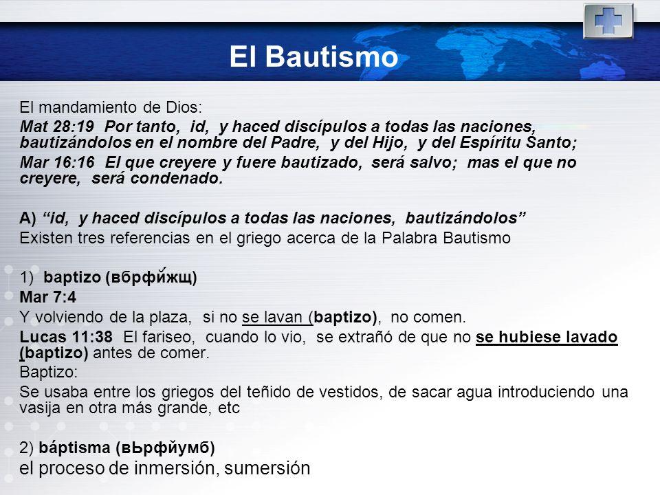 El Bautismo el proceso de inmersión, sumersión El mandamiento de Dios: