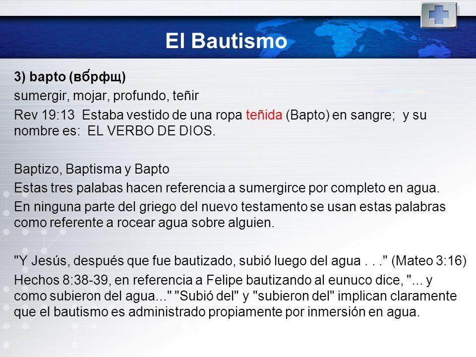El Bautismo 3) bapto (вб́рфщ) sumergir, mojar, profundo, teñir